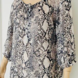LOFT Snake Print Black, White & Tan Blouse